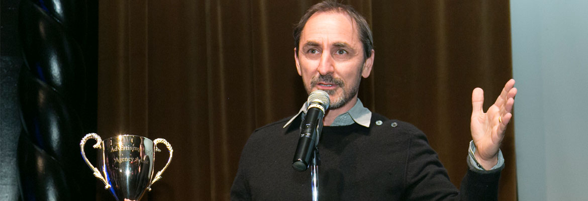 David Droga accepts the Ad Age's 2016 Agency of the Year Award on behalf of Droga5